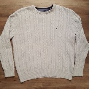 Nautica Gray Cotton Cable Knit Sweater